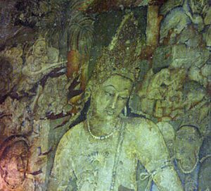Bodhisattva Padmapani painting in Ajanta cave