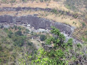 looking down over Ajanta caves