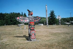 totem poles at Namgis Burial Grounds, Alert Bay