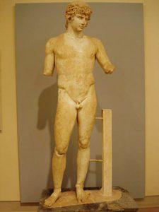 sculpture of Antinous in Delphi museum