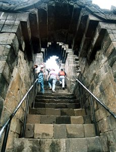 walking up into Borobudur