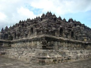 Looking at the Borobudur temple