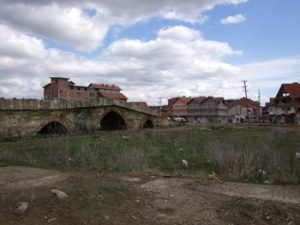 town of Vushtrri, Kosovo with old bridge