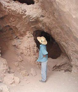 exploring a pit in the Atacama desert