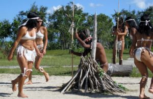 re-enactment of Taíno ritual