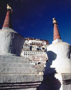 chortens in front of the Thikse monastery, Ladakh