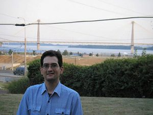 the author at the Clark Bridge on the Mississippi River