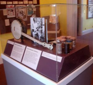 Joplin museum exhibit with vintage banjo