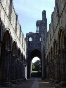 nave of roofless abbey