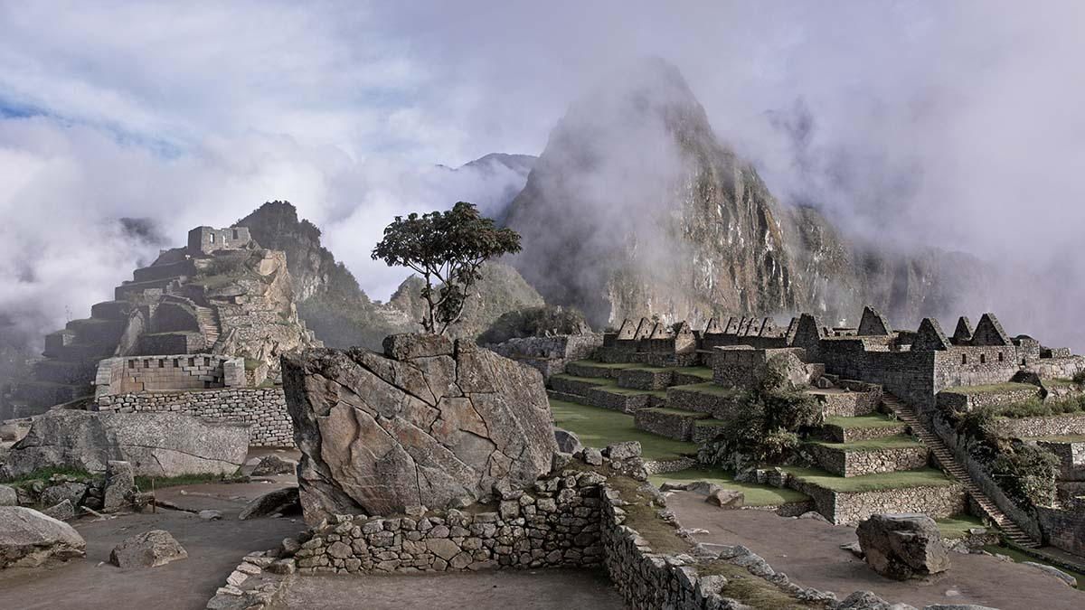 Machu Picchu in clouds