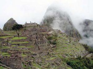 Machu Picchu with Huayna Picchu in fog