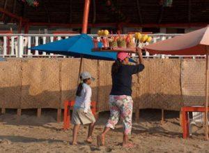 fruit vendor on beach