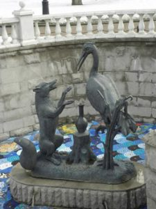 Tsereteli sculpture representing the Fox and Geese fairy tale