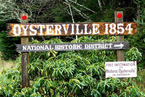 Oysterville, Washington sign