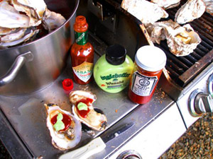 oysters and condiments on barbecue grill