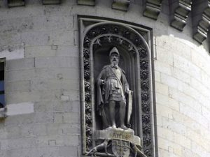 knight sculpture on Pierrefonds castle turret