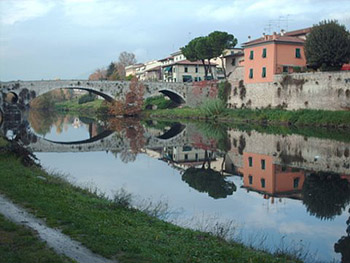 bridge over river in Prato, Tuscany