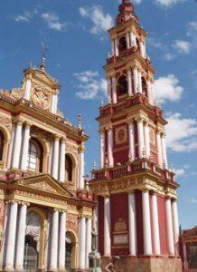 pink steeples of Salta cathedral