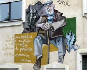 mural of old shepherd man