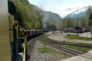 White Pass & Yukon train going around curve