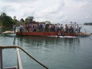 heavily loaded ferry in Sri Lanka