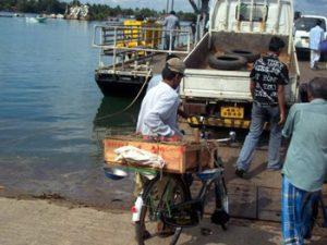 loading a ferry in Sri Lanka