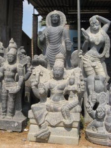 array of stone sculptures made in Mahablipuram