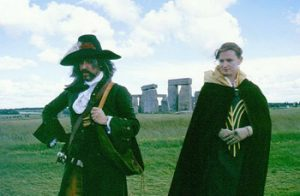 couple in vintage wordrobe at Stonehenge