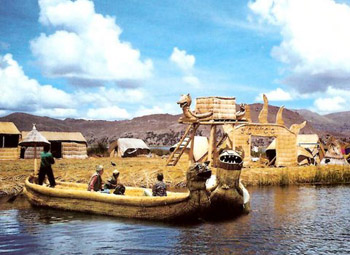 Uros reed boat on Lake Titicaca