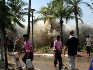 tsunami water approaching