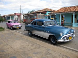 old American automobile on street in Cuba