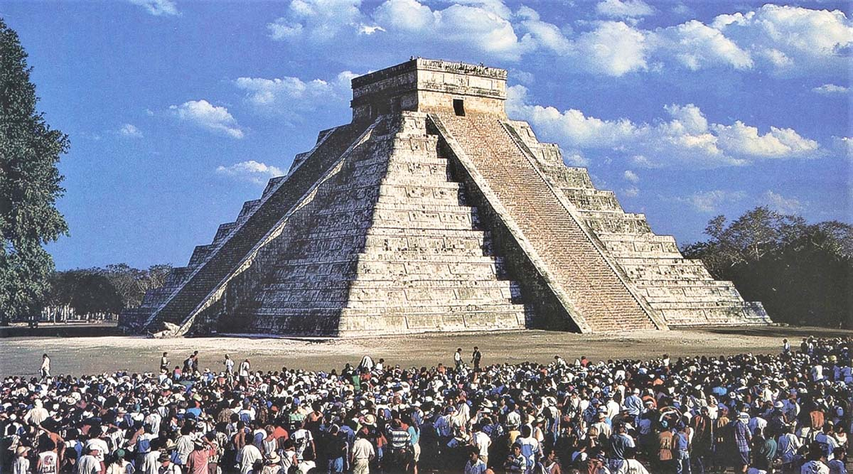 spectators view equinox shadow at Chichen Itza