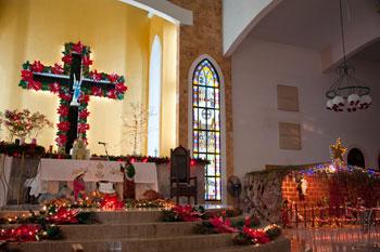 Cozumel church at Christmas