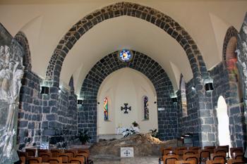Interior of church with Mensa Christi rock