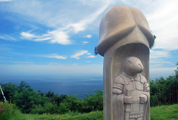 strange penis statue