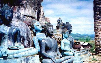 Buddha statues in Laos temple