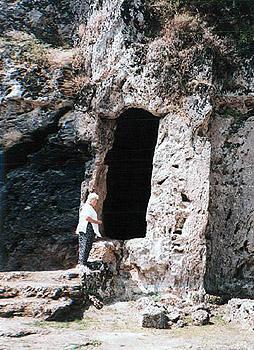the author, Ruth Kozak, at cave entrance