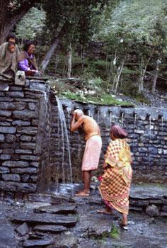 bathing in Nepal