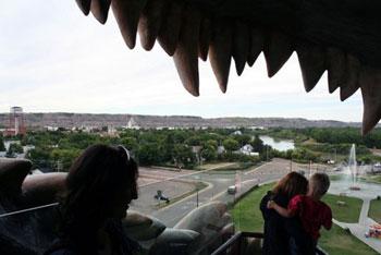 view of Drumheller through teeth of dinosaur