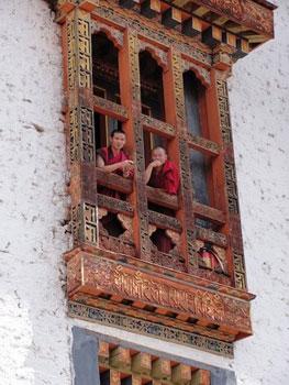 monks in window