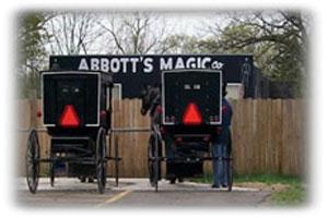 Amish farm wagons near Abbott's Magic location