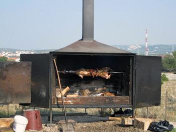lamb on a spit in Croatia