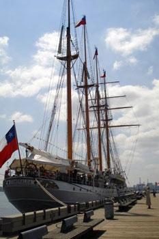 Esmeralda moored at a dock
