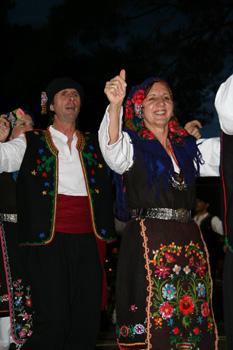 Greek dancers in traditonal regalia