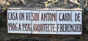 Gaudi residence sign