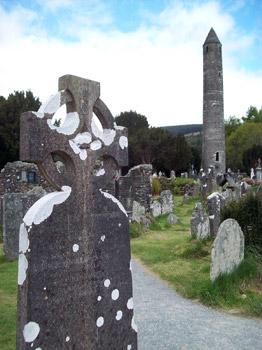 Glendalough gravestones and tower