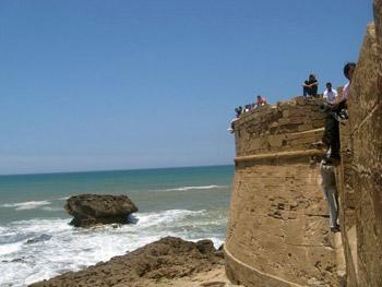 castle overlooking ocean