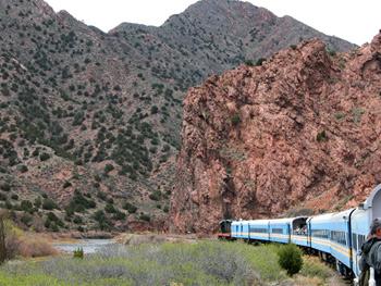 train entering the canyon