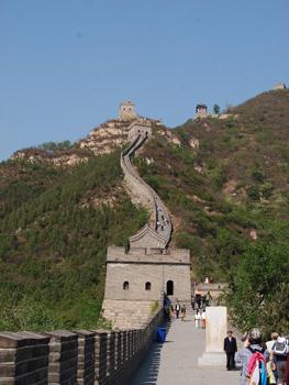 visitors walking on wall of China