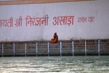 Sadhu sitting on ghat